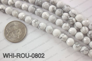 White howlite round faceted 8mmWHI-ROU-0802