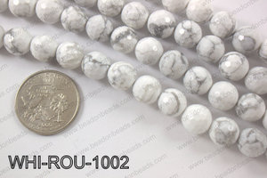 White howlite round faceted 10mmWHI-ROU-1002