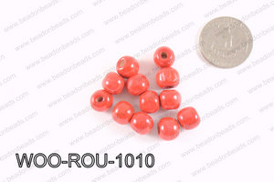 Round Wood Beads Red 10mm WOO-ROU-1010