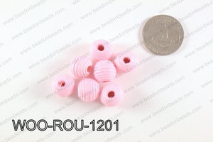 Woven Round Wood Beads Light Pink 12mm WOO-ROU-1201