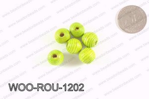 Woven Round Wood Beads Green 12mm WOO-ROU-1202