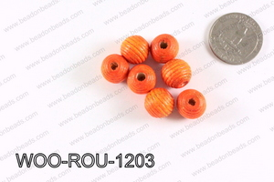 Woven Round Wood Beads Orange 12mm WOO-ROU-1203