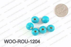 Woven Round Wood Beads Turquoise 12mm WOO-ROU-1204
