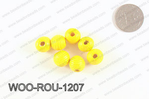 Woven Round Wood Beads Yellow 12mm WOO-ROU-1207