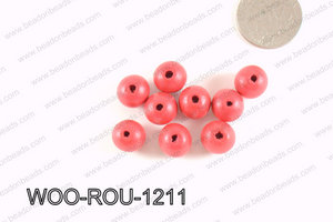Round Wood Beads Red 12mm WOO-ROU-1211