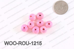 Round Wood Beads Light Pink 12mm WOO-ROU-1215