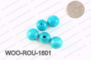Round Wood Beads Turquoise 15mm WOO-ROU-1501