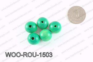 Round Wood Beads Green 15mm WOO-ROU-1503