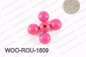 Round Wood Beads Dark Purple 15mm WOO-ROU-1509