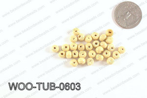 Tube Wood Beads Beige 6x4mm WOO-TUB-0603