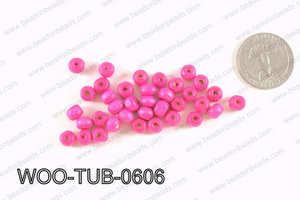 Tube Wood Beads Hot Pink 6x4mm WOO-TUB-0606
