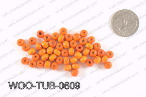 Tube Wood Beads Orange 6x4mm WOO-TUB-0609
