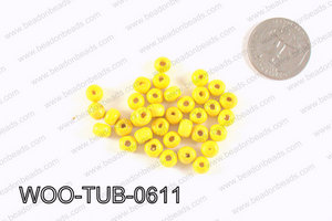 Tube Wood Beads Yellow 6x4mm WOO-TUB-0611