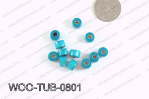 Tube Wood Beads Turquoise 6x8mm WOO-TUB-0801