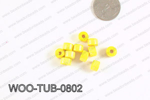 Tube Wood Beads Yellow 6x8mm WOO-TUB-0802