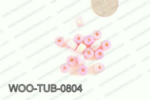 Tube Wood Beads Light Pink 6x8mm WOO-TUB-0804