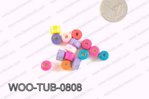 Tube Wood Beads Multicolor 6x8mm WOO-TUB-0808