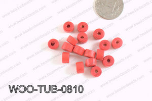 Tube Wood Beads Red 6x8mm WOO-TUB-0810