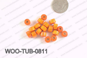 Tube Wood Beads Orange 6x8mm WOO-TUB-0811