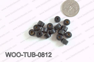 Tube Wood Beads Black 6x8mm WOO-TUB-0812