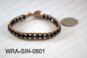 Wrapped Bracelet Black 8inches long, 10mm wide WRA-SIN-0801