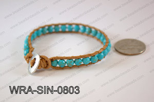 Wrapped Bracelet Blue 8inches long, 10mm wide WRA-SIN-0803