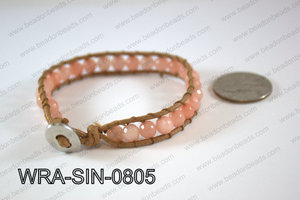 Wrapped Bracelet Peach 8inches long, 10mm wide WRA-SIN-0805