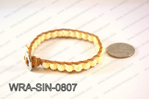 Wrapped Bracelet Cream 8inches long, 10mm wide WRA-SIN-0807